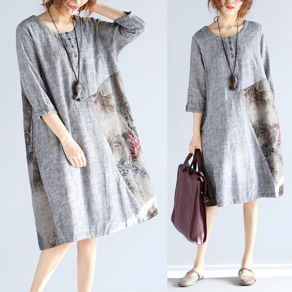 Loose Splicing Round Neck Linen Dress
