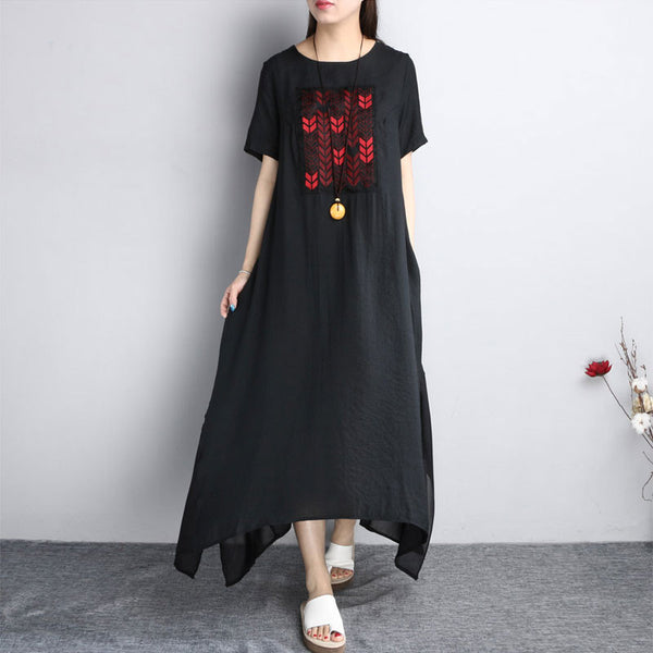 Ethnic Embroidered Women Summer Loose Dress