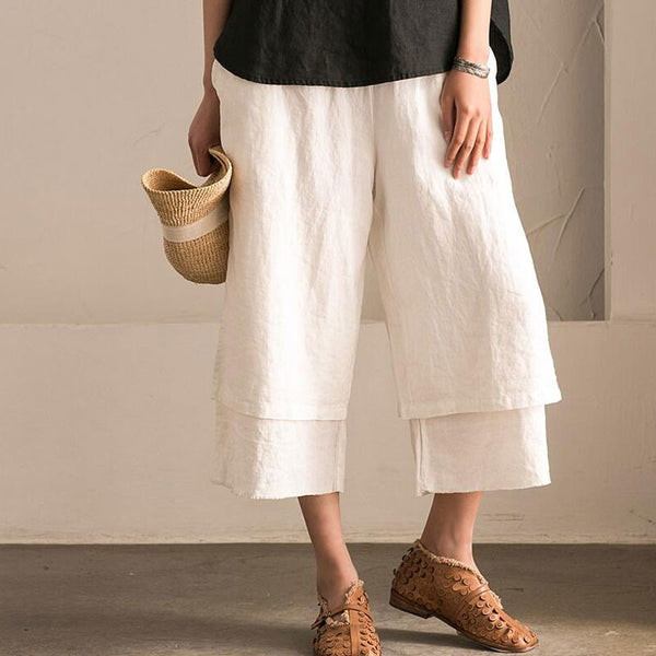 Irregular Cotton Women Linen Loose White Wide Leg Pants - Buykud