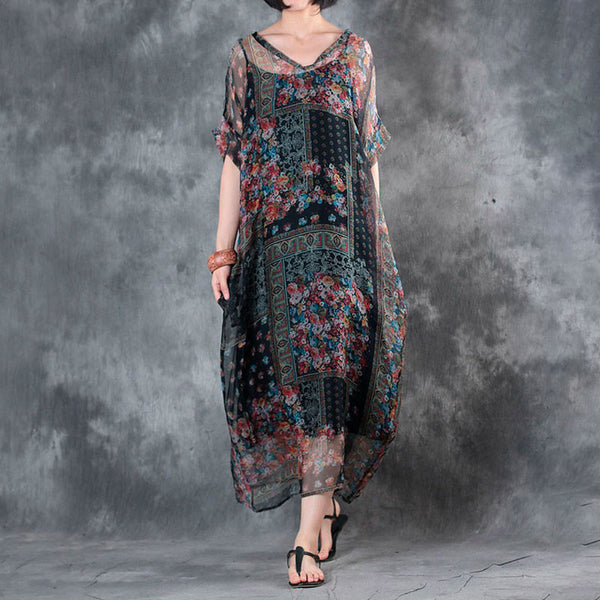 Floral V Neck Printing Women Summer Dress - Buykud