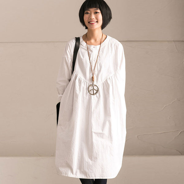 Cotton Round Neck High Waist White Dress