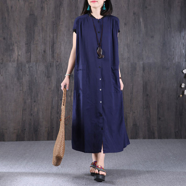 Loose Women Cotton Linen Casual Folded Dress