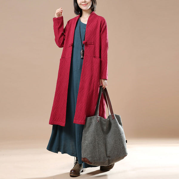 Chic Frog Stand Collar Long Sleeves Literature Red Autumn Women Dress - Buykud