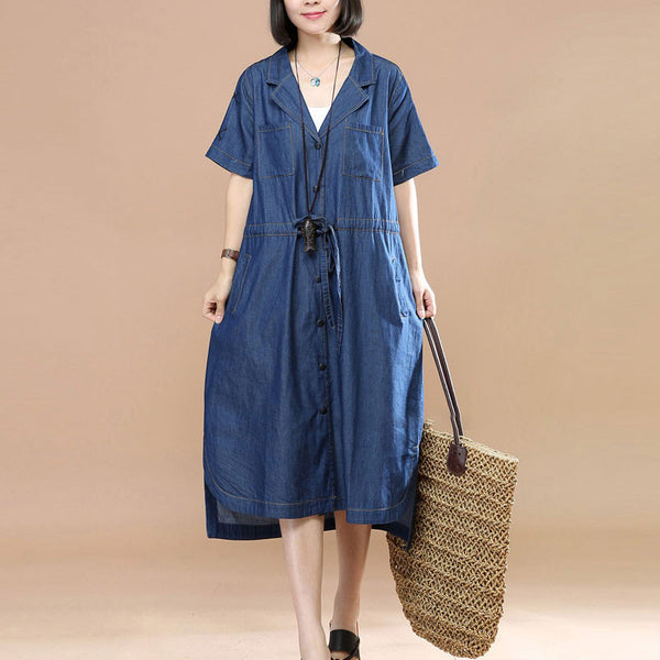 Irregular Literature Polo Collar Short Sleeve Loose Women Blue Denim Dress - Buykud