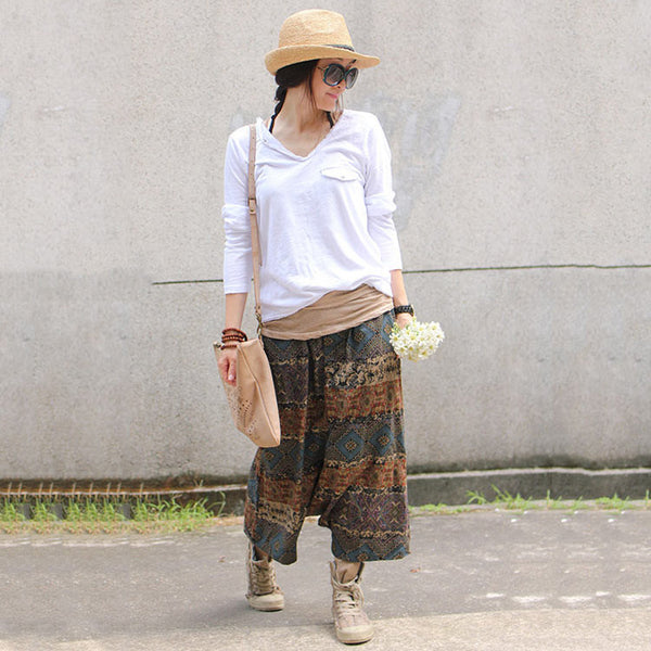 Cotton linen retro autumn pants