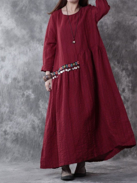 Cotton linen loose fitting cotton linen dress