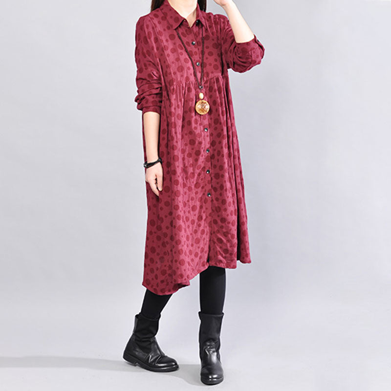 Soft Cotton Long Sleeves Red Dot Autumn Winter Women Dress - Buykud