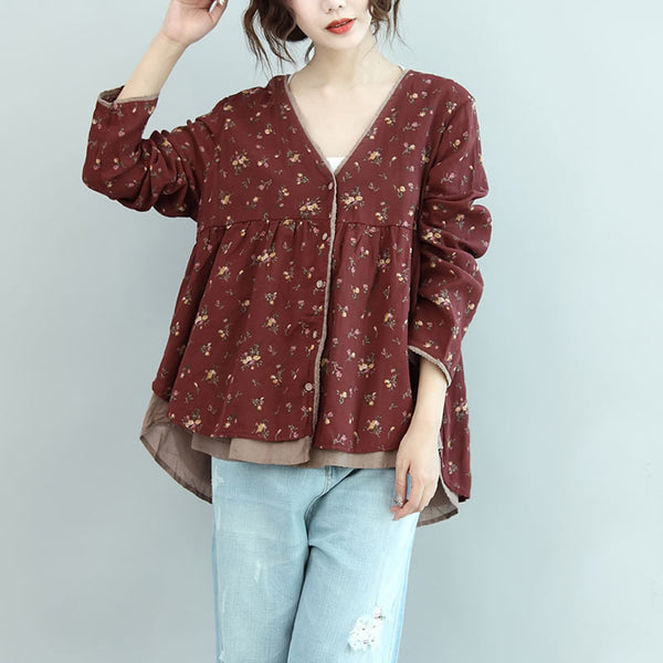 Floral Retro Women Casual Cotton Red Shirt