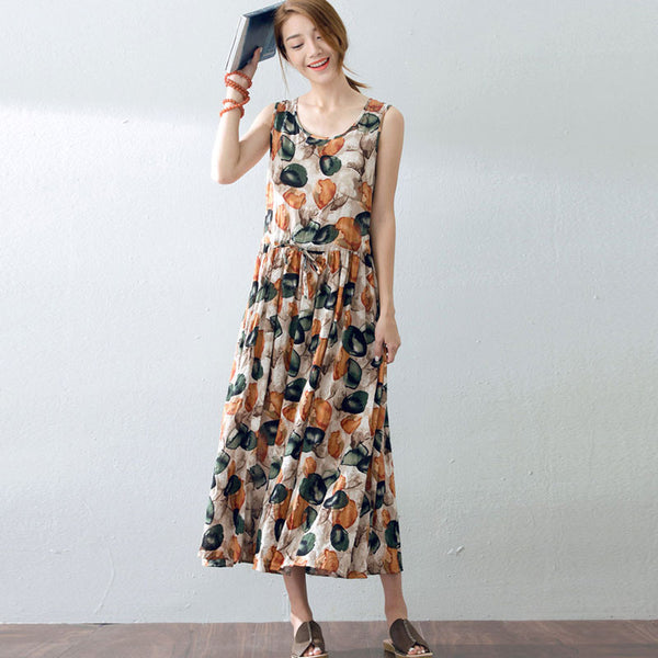 Loose Floral Women Casual Cotton Sleeveless Dress