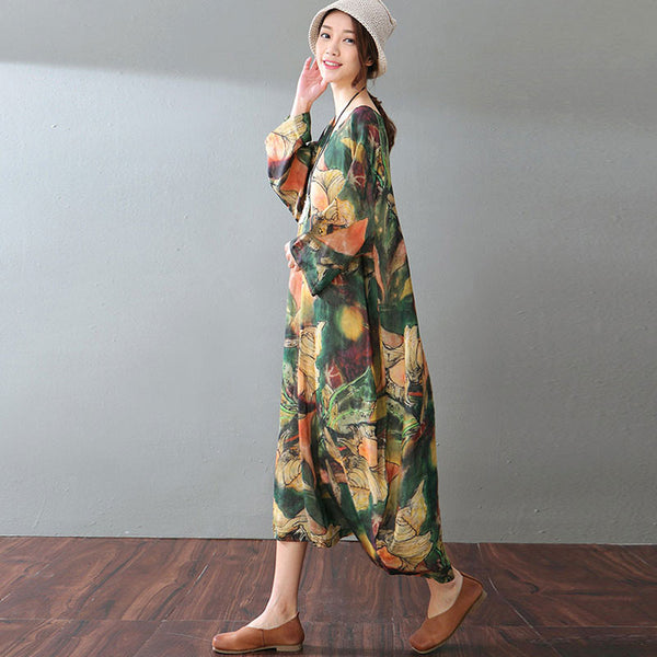 Spring Abstract Printing Linen Dress