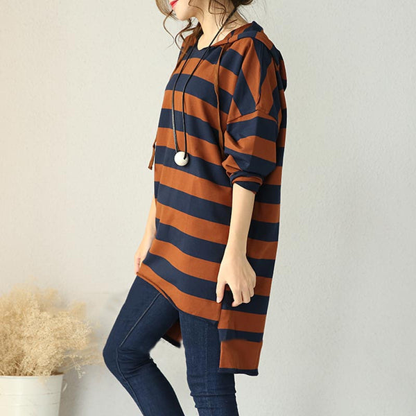 Brown Hooded Striped Casual T Shirt