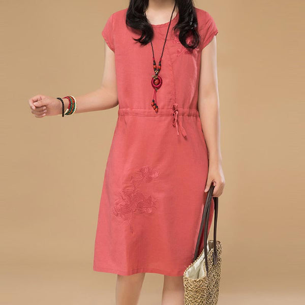 Loose Women Embroidered Casual Lacing Linen Dress