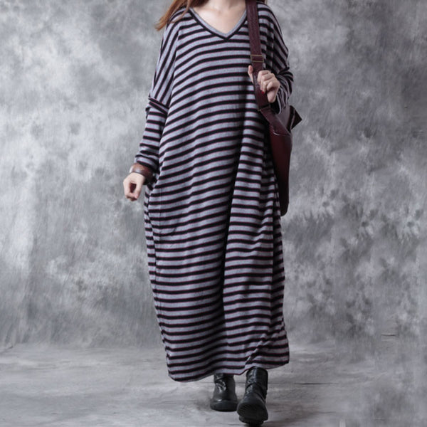 Loose Cotton V Neck Striped Dress
