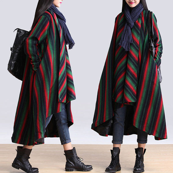 Women Woolen Stripe Loose Jacket Coat