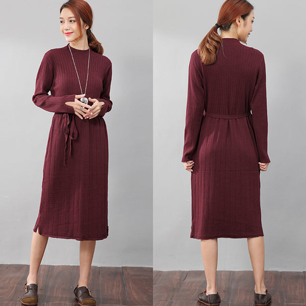 Chic Jacquard Women Long Sleeve Splitting Sweater Wine Red Dress - Buykud