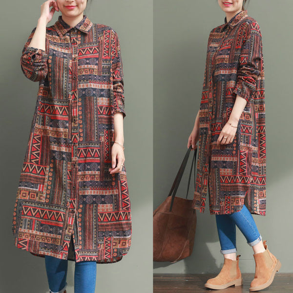Casual Loose Ethnic Style Printing Shirt