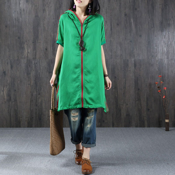 Casual Loose Hooded Zipper Green Pullover
