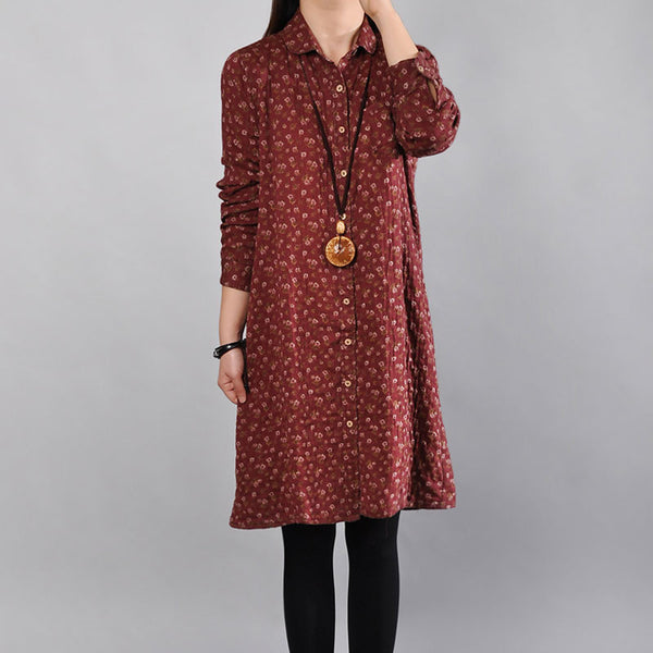 Casual Floral Cotton Women Red Dress