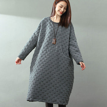Jacquard Round Neck Hedging Long Sleeves Literature Gray Women Dress - Buykud