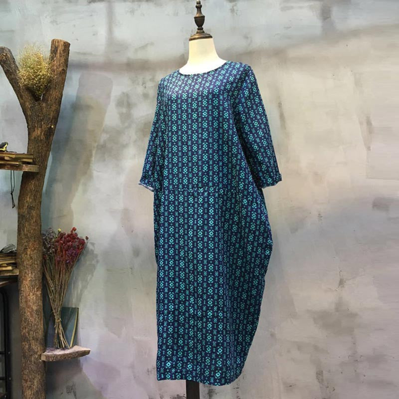 Round Neck Printing Splicing Loose Blue Dress - Buykud
