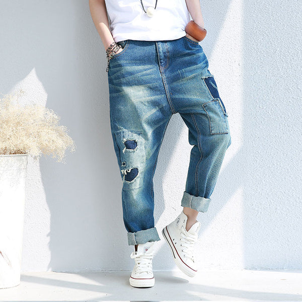 Retro Women Distressed Loose Casual Denim Pants - Buykud
