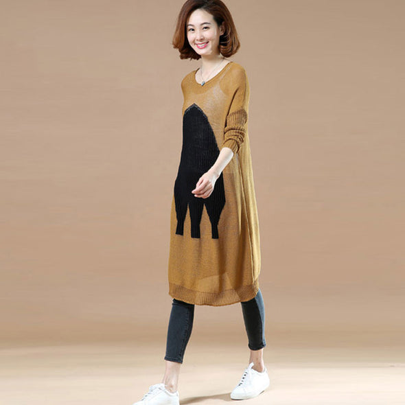 Spring Round Neck Printing Casual Sweater - Buykud