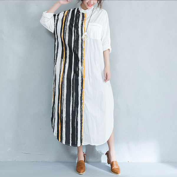Summer Stripe Irregular Cotton Long Shirt dress