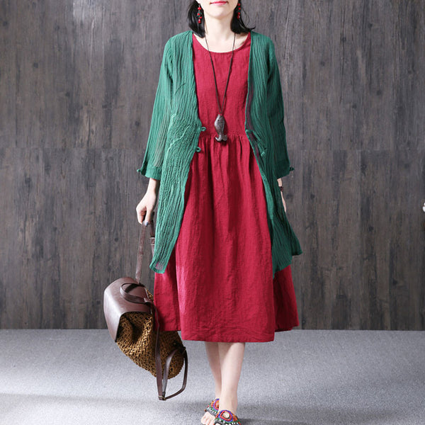 Summer Casual Loose Linen V Neck Green Coat