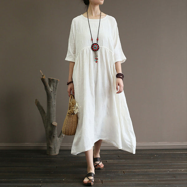 Summer Cotton Linen Half Sleeve White Pleated Dress