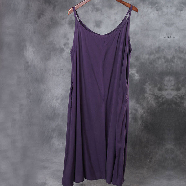 Casual Loose Summer Light Purple Slip Dress