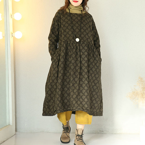 Women Cotton Linen Print Winter Warm Dress