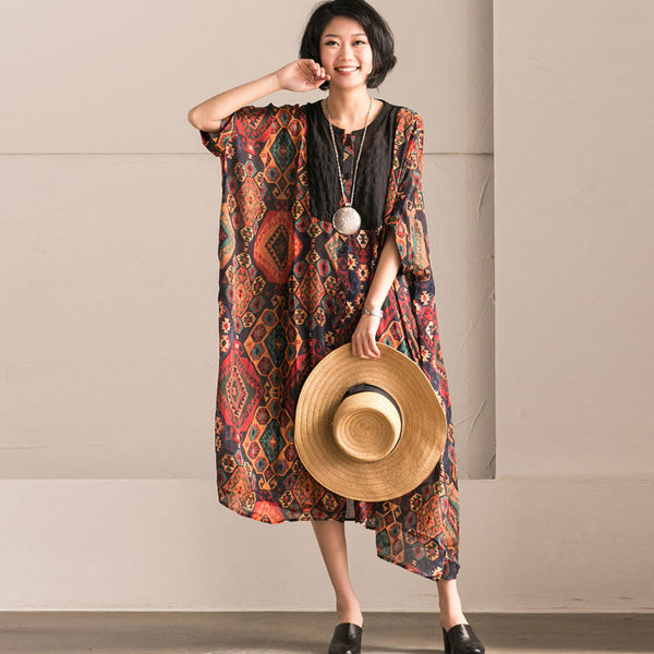 Retro Printing Chiffon Dress
