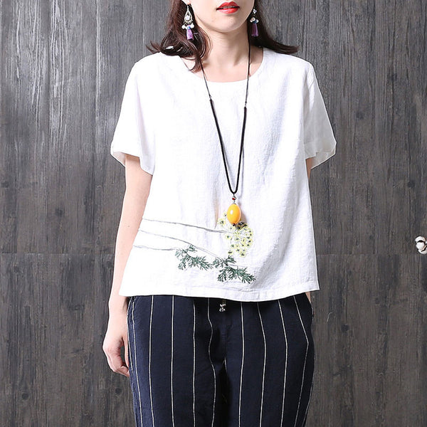 Embroidered Round Neck Short Sleeves White Shirt