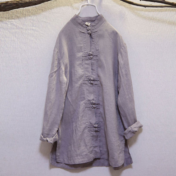 Loose Casual Women Retro Frog Linen Spring Light Gray Shirt - Buykud