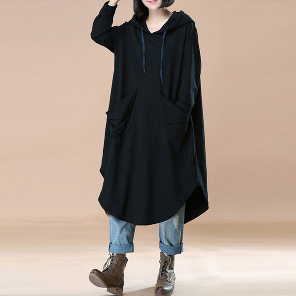 Irregular Big Pockets Literature Solid Black Women Hoody Dress - Buykud