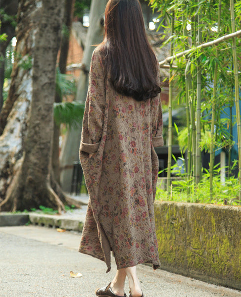 Women Print Retro Cotton Linen Long Sleeve Dress