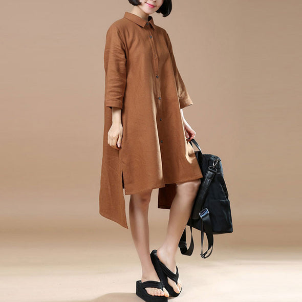 Cotton Linen Irregular Women Casual Loose Coffee Shirt Dress - Buykud