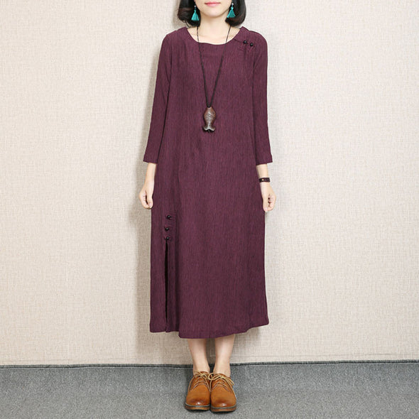 Retro Frog Casual Round Neck Red Dress - Buykud