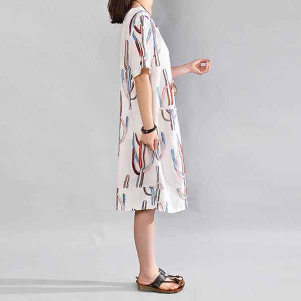 Summer Round Neck Printing Short Sleeves White Dress - Buykud