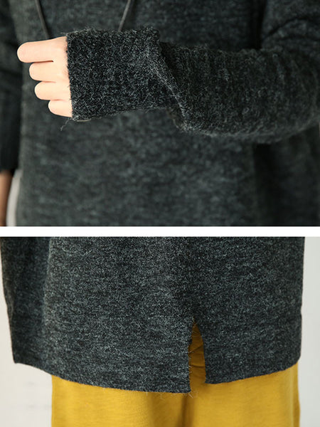Blue High Necked Wool Sweater