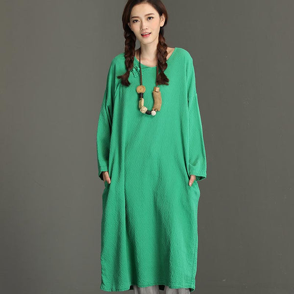 Spring And Autumn Loose Green Blouse