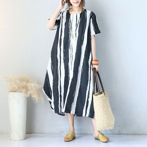 Novelty Baggy Cotton Linen Short Sleeves Black Dress - Buykud