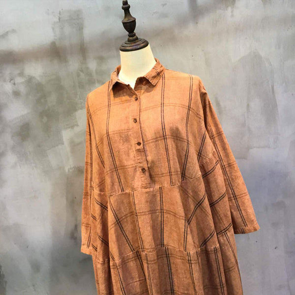 Women Lattice Splicing Loose Linen Orange Dress - Buykud