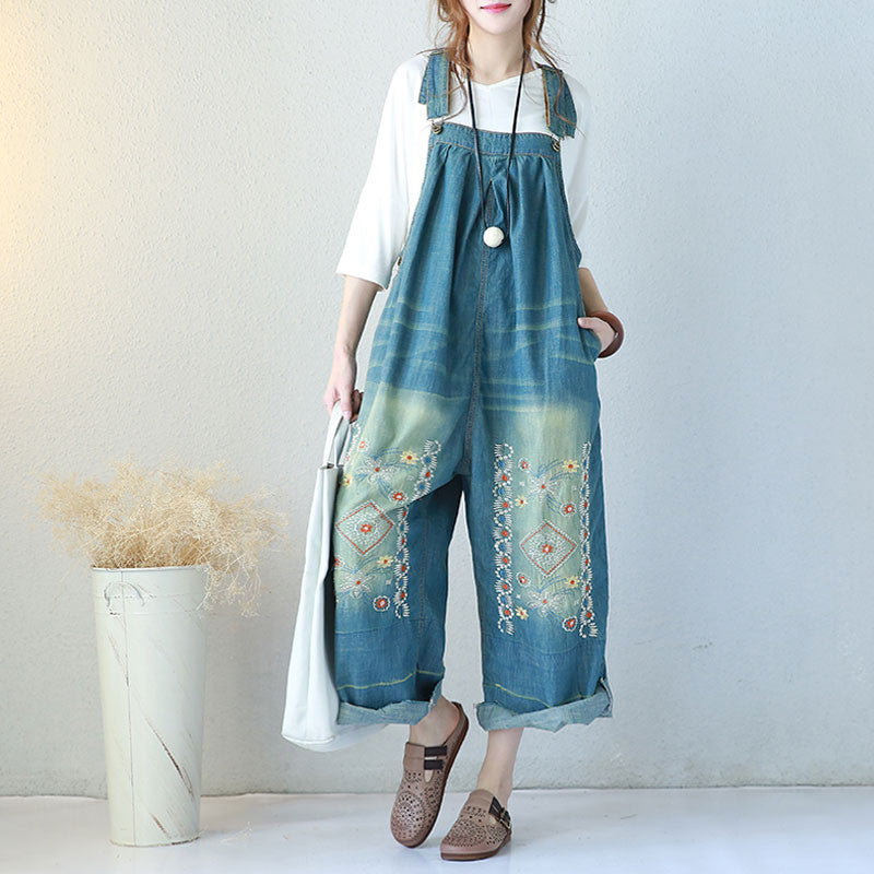 Summer Casual Loose Women Denim Jumpsuits