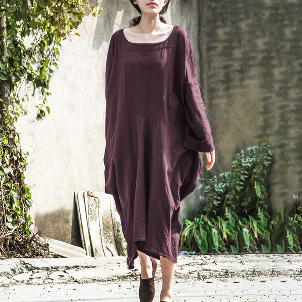 Women Round Neck Solid Long Sleeve Casual Loose Dress - Buykud
