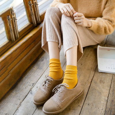 Women Casual Thick Solid Sweater Socks - Buykud