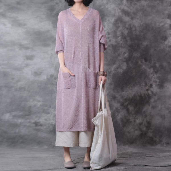Linen Loose Women Shoulder Sleeves Purple Dress