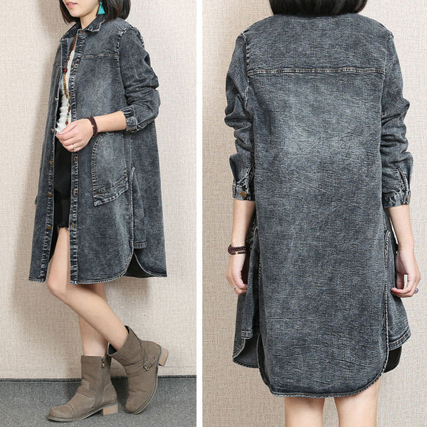 Spring Single Breasted Pocket Distressed Denim Deep Gray Coat