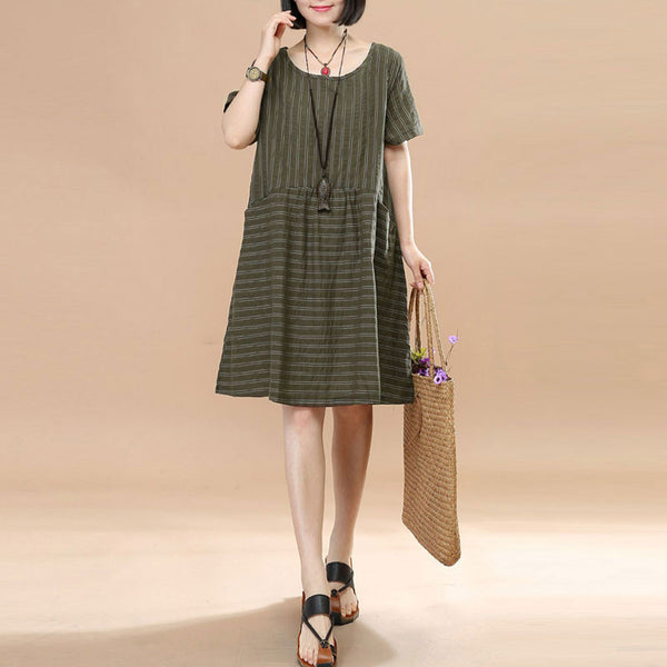 Stripe Women Loose Casual Summer Splicing Cotton Army Green Dress - Buykud