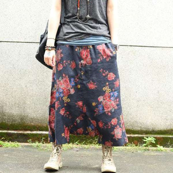 Loose Women Retro Linen Floral Harem Pants